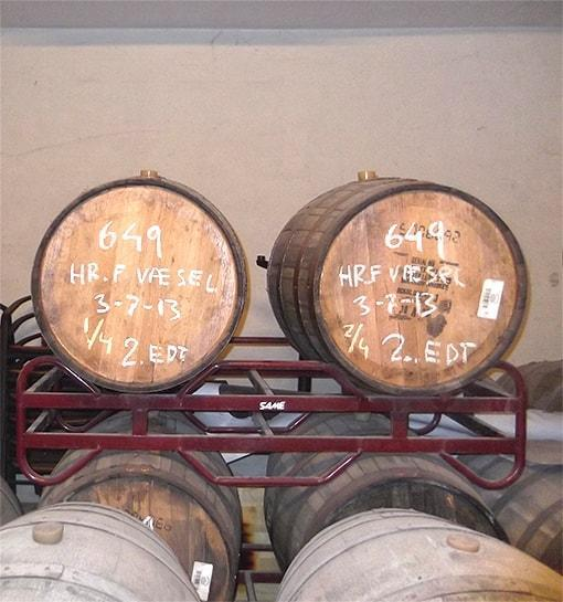 Barrel aging area at the brewery.