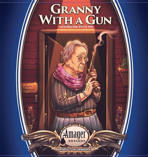 Granny with a gun label