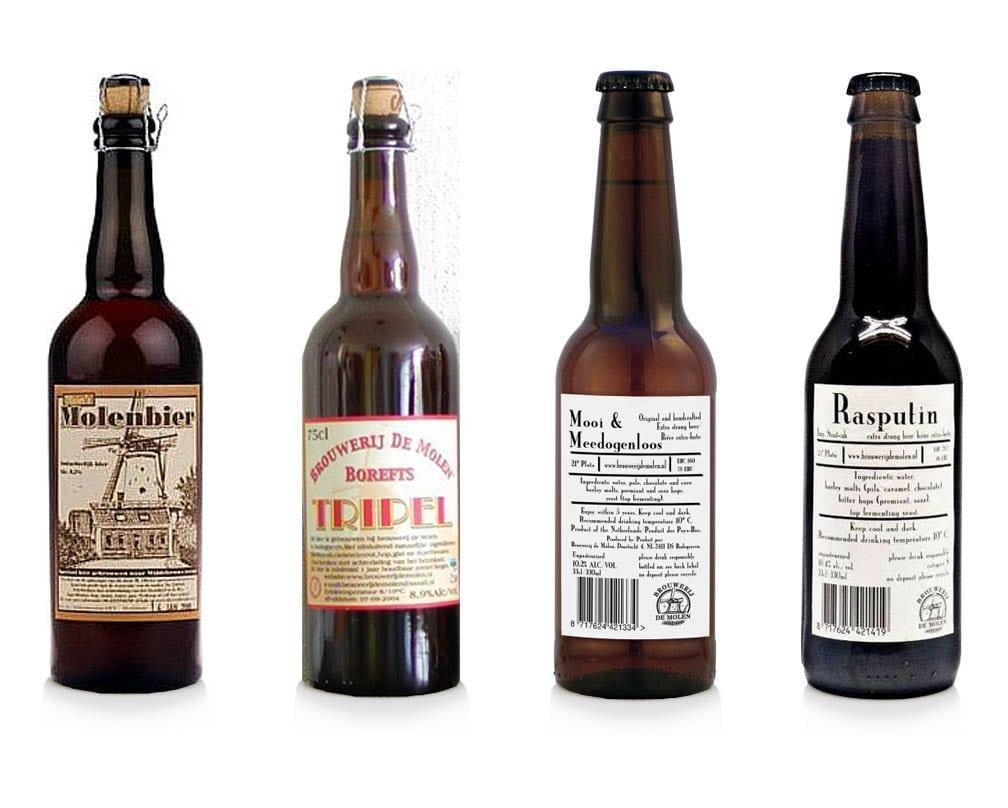 Two of the old designs (left), and two of what has became the standard design for De Molen labels