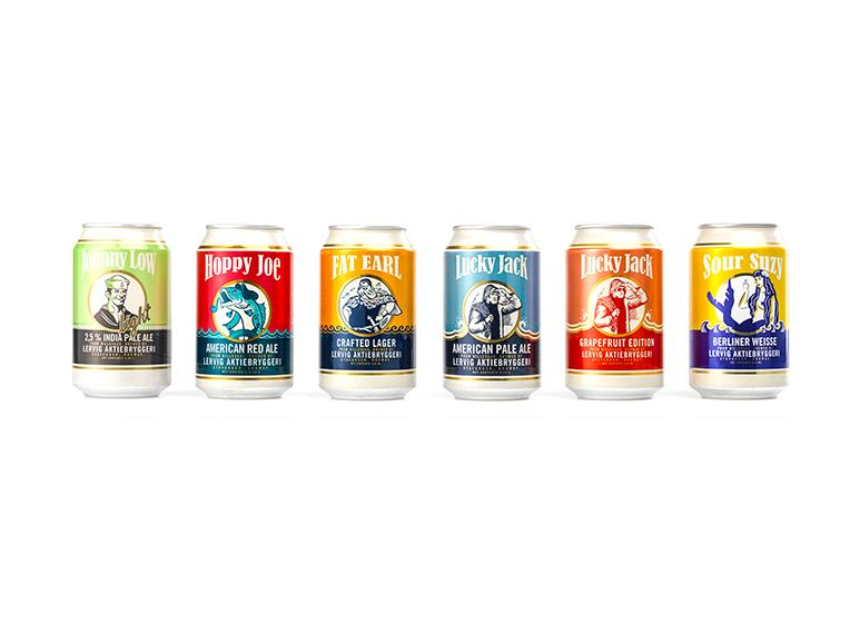 Showcase of Lervig canned beer.